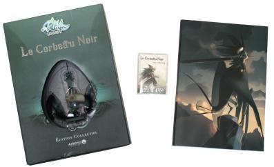 Contenu de la Box collector du Corbeau Noir (Wakfu), notez la présence d'une carte Wakfu TCG