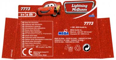 Packaging dessous Mega-bloks : Flash McQueen (2007) Cars