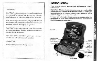 Notice page 2 et 3 : Vtech : Genius Flash McQueen (2008) Ordinateur Cars