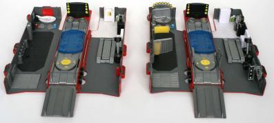 A gauche la remorque après un an d'utilisation par un enfant de 4 ans. La plupart des équipements se sont déboîtés ou se sont cassés. Mais les éléments structurant ont tenu le coup.
