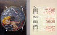 Intérieur du digipack  avec les épisodes 1 à 15 de la box collector Fullmetal Alchemist