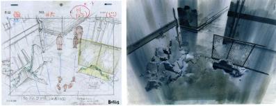 Ce décor est bien tiré d'un plan de la série, on voit que le crayonné est un layout.