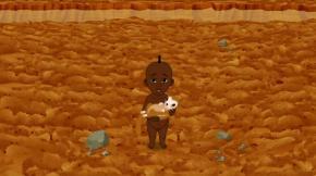 Kirikou a trouvé l'écureil que cherchait la hyène dans le potager (Kirikou et les bêtes sauvages)