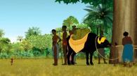 Les vilageois veulent utiliser un buffle dommestique dont ils ne savent rien et Kirikou s'y oppose sans succès (Kirikou et les bêtes sauvages)
