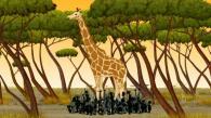Les fétiches ont vu Kirikou monter sur la girafe, ils la suivent de près (Kirikou et les bêtes sauvages)