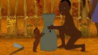 Pour pouvoir s'approcher discrètement, les enfants fabriquent pour Kirikou un déguisement de fétiche (Kirikou et les bêtes sauvages)