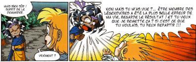 La rupture de ton, tout comme l'exagération de la taille de la tête sont des codes souvent utilisés dans le manga.