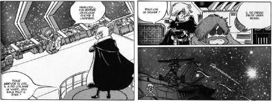 Page 150 à la dernière case, au lieu de voir le Death Shadow, l'auteur a mis un morceau de l'Arcadia.