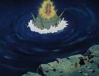 Un hologramme de la Reine Sylvidra apparaît au-dessus de la bombe
