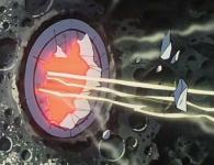 Alfred tire avec les canons de l'Atlantis pour détruire les portes du sas