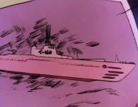 L'ordinateur de l'Atlantis identifie l'assaillant comme étant le sous-marin japonais i-168 de la Seconde Guerre Mondial
