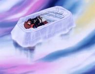 La Sylvidre neutralise Albator puis l'enferme dans un cercueil de glace