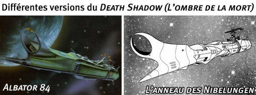 Comparaison entre la version du Death Shadow d'Albator 84 et celui de L'anneau des Nibelungen (commandé par Great Harlock le père d'Albator)