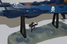les deux chasseurs peuvent être posés sur les deux plateaux du socle