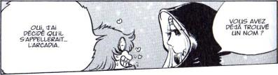Toshiro tombe amoureux d'Emeraldas lors de sa première rencontre avec elle, alors qu'il était enfant. (Tome 4 page 93 de l'Anneau des Nibelungen)