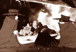 Dans le premier film de Galaxy Express 999 (1979) Toshirô rencontre Tetsuro devant l'épave de l'Ombre de la Mort