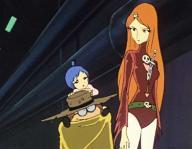 Toshiro, Emeraldas et leur fille Stellie (Mayu) âgée d'environ un an à un an et demi (Albator 78)