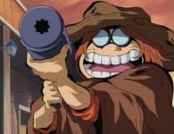 Toshirô arrête le monstre grâce à un bazooka de sa conception