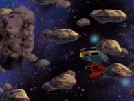 Le Karyu est pris dans un champ d'astéroïdes (Cosmowarrior Zero - Episode 10)