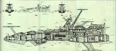 Plan de coupe de l'Atlantis d'Albator 78 (Arcadia) c'est le même design que le Death Shadow de Cosmowarrior Zero