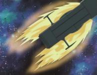 Alors que le Karyu venait d'enclencher ses rétro-propulseurs, le Hell Castel les détruit avec ses lasers