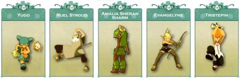 Les personnages principaux de Wakfu : Yugo, Ruel Stroud, Amalia, Evangelyne, Tristepin de Percedal
