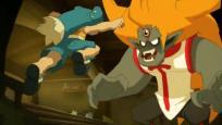 Yugo se jette sur le monstre pour lui arracher son oeil démoniaque
