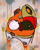 Husky, peinture tirée de Back de Diamonds, Spades, Hearts & Clubs' par Mike Shinoda