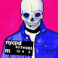 Peinture mugshot glamourshot réalisée par Mike Shinoda pour l'exposition Glorious Excess (Born)