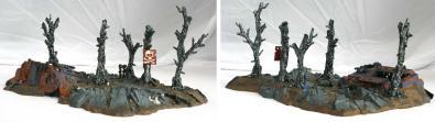 Vue trois-quart de l'épave de Rhino (décor Warhammer 40.000)