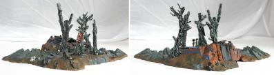 Vue trois-quart de l'épave de Rhino(décor Warhammer 40.000)