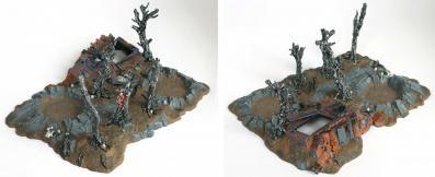 Epave de Rhino et débris de batailles (décor Warhammer 40.000)