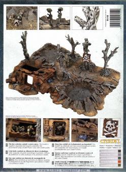 Dos du packaging de l'épave de Rhino et débris de batailles (décor Warhammer 40.000)