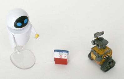 Les deux personnages ne sont pas à la même échelle, EVE est trop grosse par rapport à Wall-E.