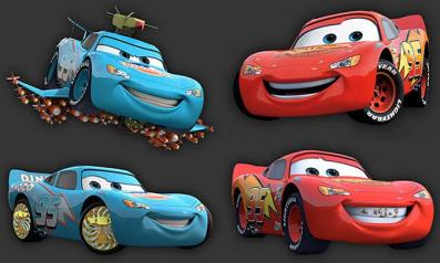 Flash McQueen s'imagine en bleu Dinoco et tournant des films.