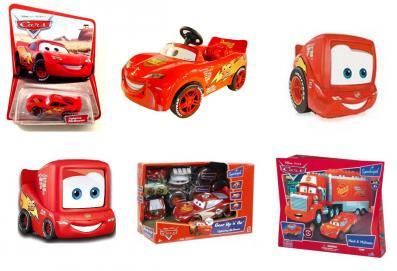 Exemples de produits dérivés et de jouets Cars à l'effigie de Flash McQueen