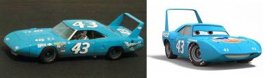 La Plymouth Superbird de Richard Petty et Le King Strip Weathers (Pixar - Cars)