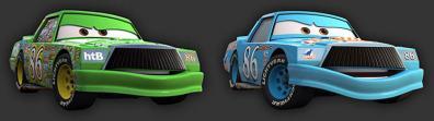 Chick en Bleu Dinoco tel que Flash McQueen l'a imaginé dans un moment d'angoisse (Cars - Pixar)