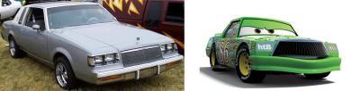 Chick Hicks est un personnage inspiré d'une Buick Regal des années 1980 (Cars - Pixar)