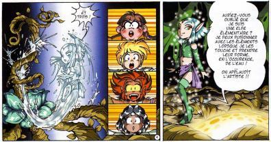 Shimy est une Elfe élémentaire. Elle peut donc fusionner avec les éléments (eau, terre et feu)
