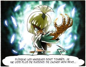 La seule partie de son corps qui ne peut pas se transformer en humain est son bras droit car il provient de son créateur Skroa.