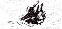 L'épave du Death Shadow repose près de la tombe de Toshirô (page 190 du tome 5 de Capitaine Albator)