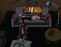 Tadashi recouvre le corps de son père et part à bord de l'Atlantis sans rien dire à Nana