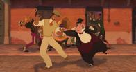Lawrence entraîné par le prince à danser dans la rue