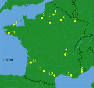 Carte du tour de Gaule d'Astérix