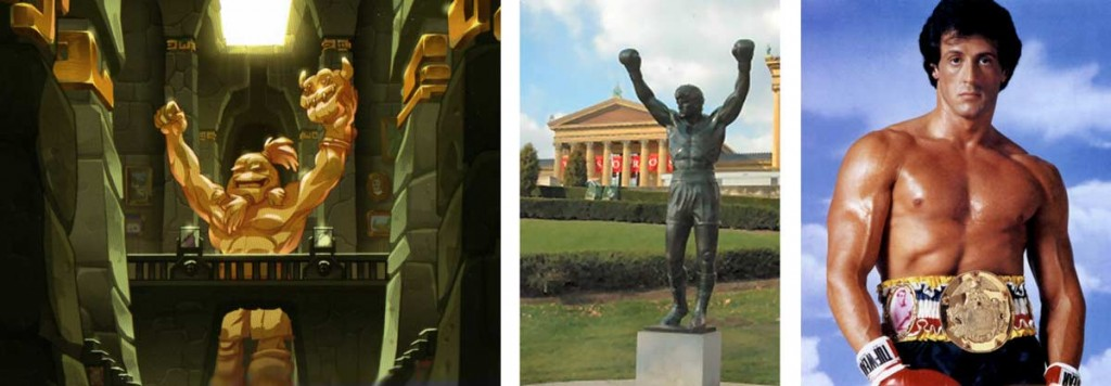 Cette statue de boufbowler est inspirée de la statue de Rocky (Wakfu)