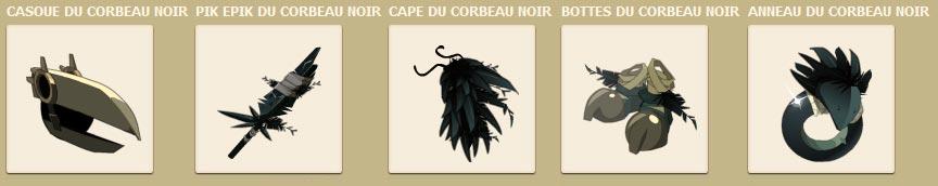 La panoplie du Corbeau Noir dans le jeu vidéo en ligne Dofus