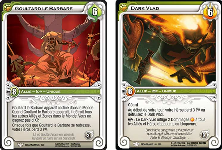 Cartes de Goultard et Dark Vlad tirées du jeu Wakfu TCG