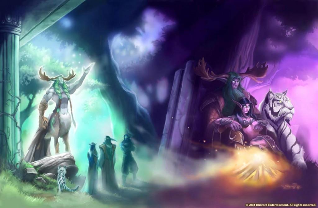 Fond d'écran montrant Tyrande, Malfurion et Illidan suivre les cours du demi dieu Cénarius.