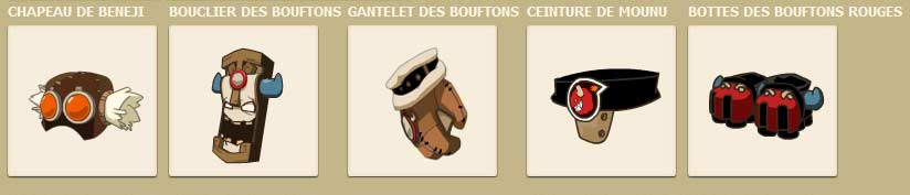 Panoplie des Bouftons Rouges dans le jeu vidéo en ligne Dofus